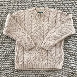 Vtg J. Crew Oatmeal Cable Knit Fishermen's Sweater